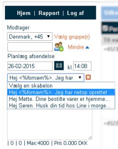sms skabeloner SureSMS SMS gateway