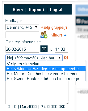 Skabeloner SMS gateway